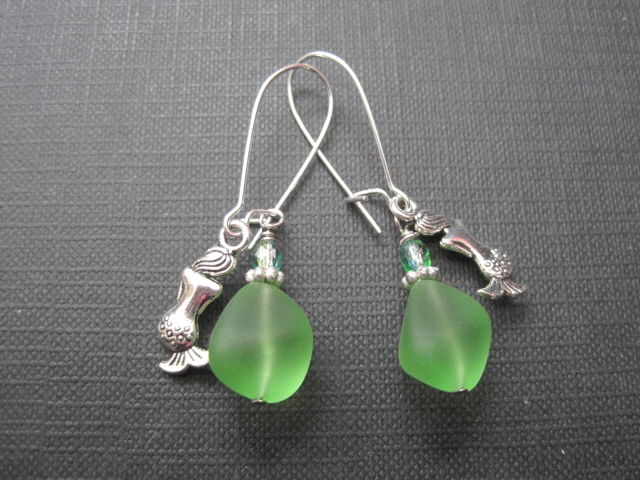 Green Sea Glass Mermaids Tears Dangle Earrings - product images  of