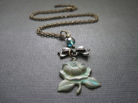 Verdigris,Rose,Bow,Necklace,Verdigris Rose Bow Necklace, patina, antique gold, brass, handmade jewelry, handmade necklace