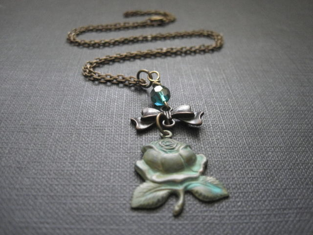 Verdigris Rose Bow Necklace - product images  of