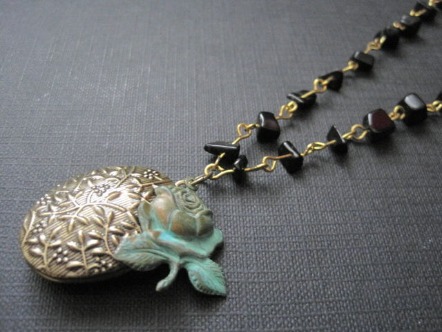 Verdigris Rose Beaded Locket Necklace - product images  of