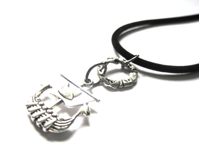 Viking Dragon Ship Cord Necklace - product images  of
