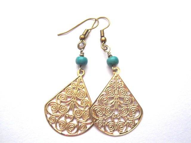 Filigree Gold Tone Turquoise Dangle Earrings - product images  of