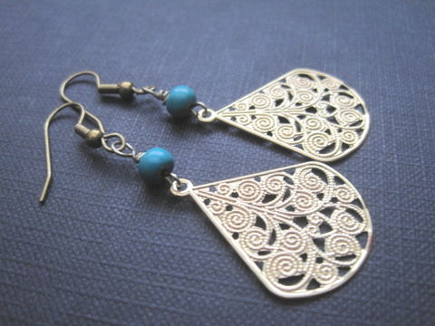 Filigree,Gold,Tone,Turquoise,Dangle,Earrings,Filigree Gold Tone Turquoise Dangle Earrings