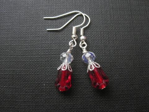 Tulip,Flower,Dangle,Earrings,Tulip Flower Dangle Earrings, red, teal, black, silver, floral