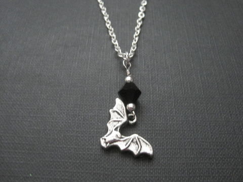 Gothic,Vampire,Bat,Necklace,vamp, vampire, bat, bat necklace, vampire bat, gothic necklace, gothic jewelry, gothic bat necklace, handmade,  black, silver, vamps jewelry