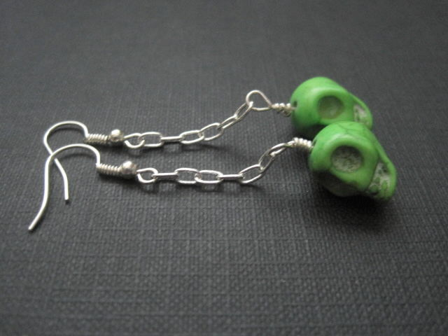 Green Skull Zombie Chain Dangle Earrings - product images  of