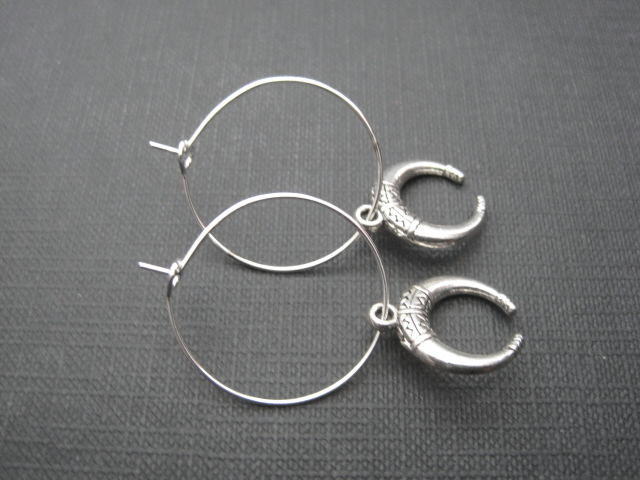 Crescent Moon Hoop Earrings, Goddess Moon  - product images  of