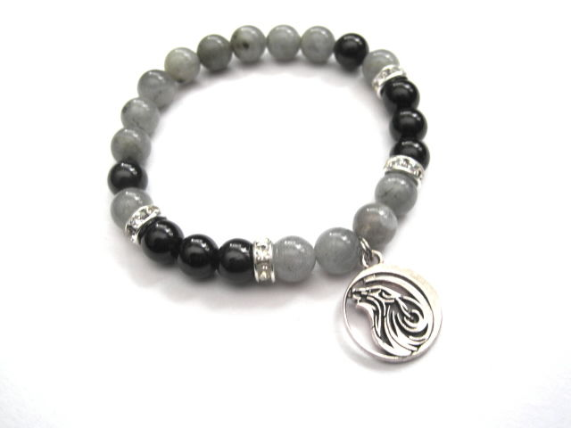 Wolf Tourmaline Labradorite Gemstone Stretch Bracelet - product images  of