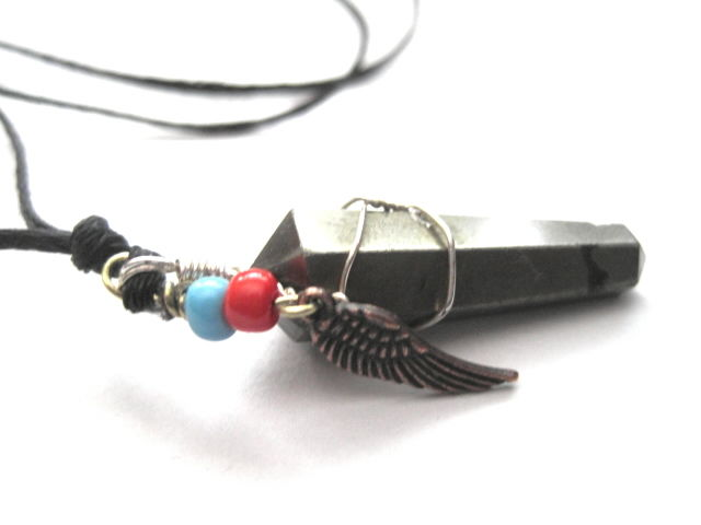 Pyrite Point Fools Gold Angel Wing Cord Necklace - product images  of