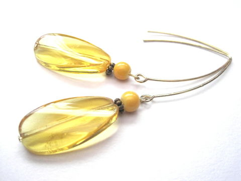 Yellow,Long,Dangle,Earrings,Yellow Long Dangle Earrings, summer jewelry, spring, yellow, golden, handmade earrings
