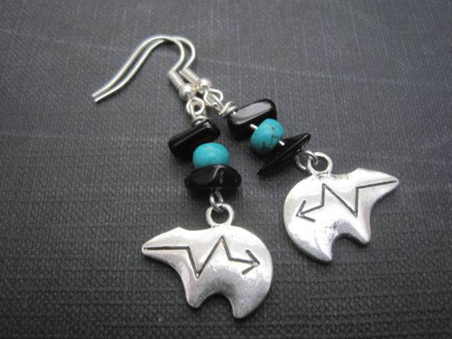 Zuni Bear Totem Dangle Earrings - product images  of