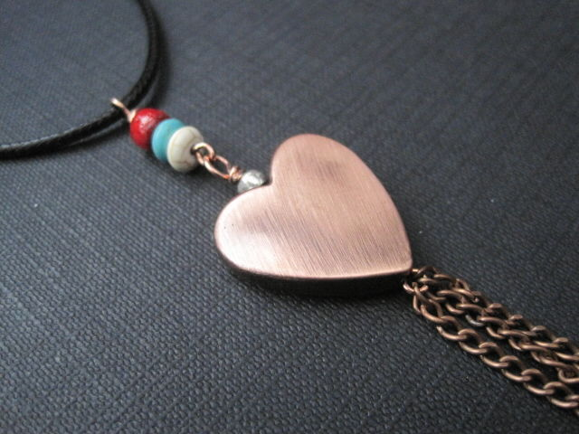 Copper Big Heart Tassel Cord Necklace - product images  of