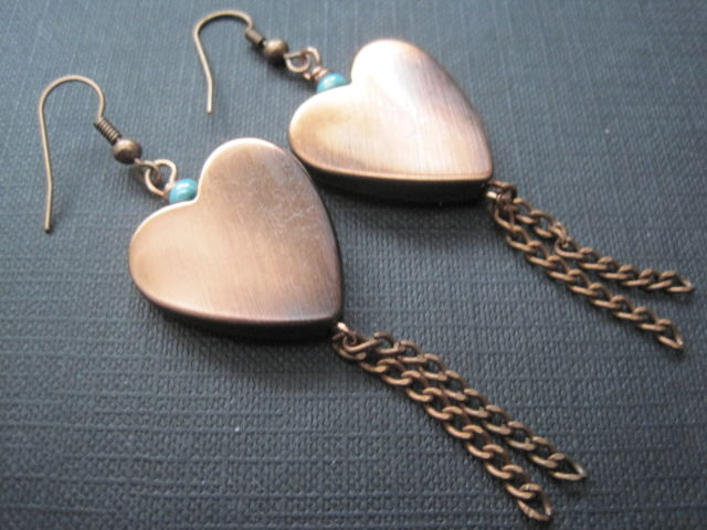 Copper Big Heart Tassel Dangle Earrings - product images  of
