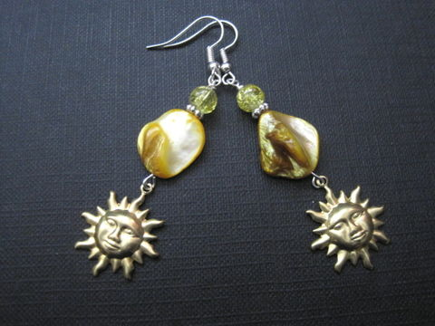 Yellow,Mother,of,Pearl,Sun,Dangle,Earrings,Yellow Mother of Pearl Sun Dangle Earrings, mop, yellow, celestial, sun, beach jewelry, sol