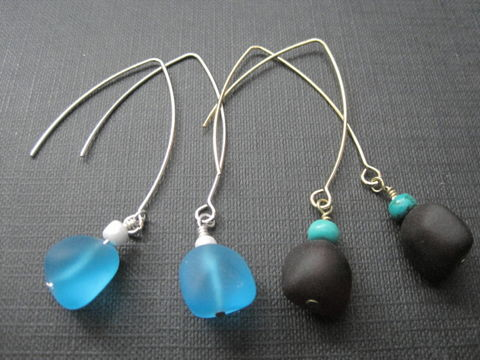 Cultured,Sea,Glass,Dangle,Earrings,Handmade,Cultured Sea Glass Dangle Earrings, seaglass, silvertone, goldtone, red sea glass, turquoise sea glass, man made sea glass, beach jewelry, handmade earrings, handmade jewelry