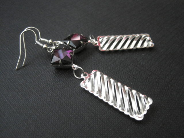 Amethyst Rhinestone Rectangle Elegant Dangle Earrings  - product images  of