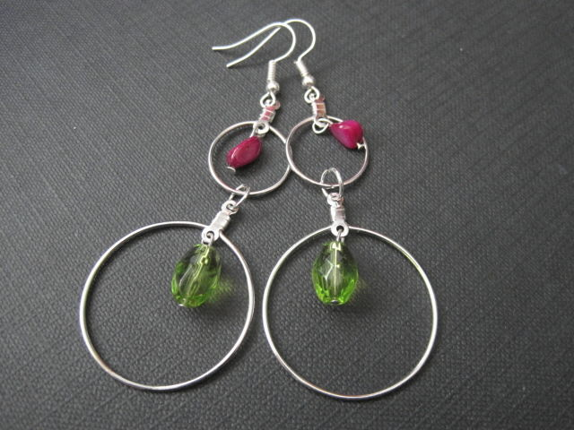 Double Hoop Green Glass MOP Earrings - product images  of