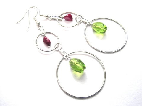 Double,Hoop,Green,Glass,MOP,Earrings,Double Hoop Green Glass MOP Earrings, mother of pearl, pink, green, silver, hoops,handmade jewelry, handmade earrings