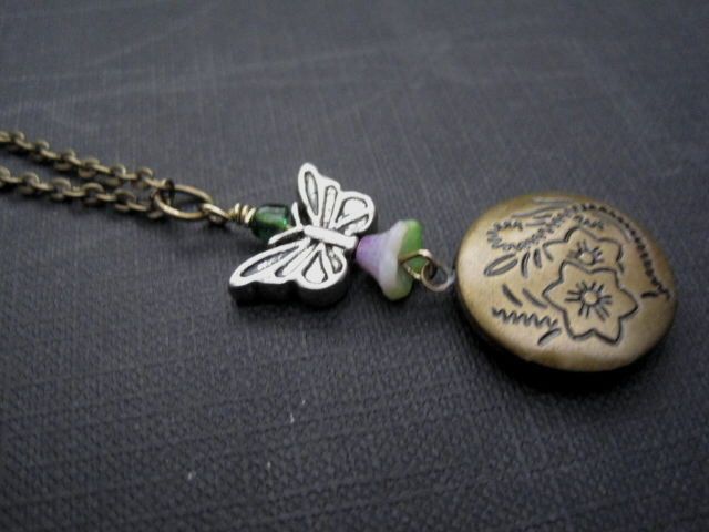 Butterfly Floral Brass Locket Necklace - product images  of