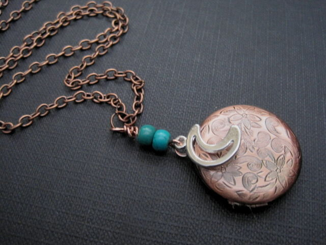 Crescent Moon Round Copper Locket Necklace - product images  of