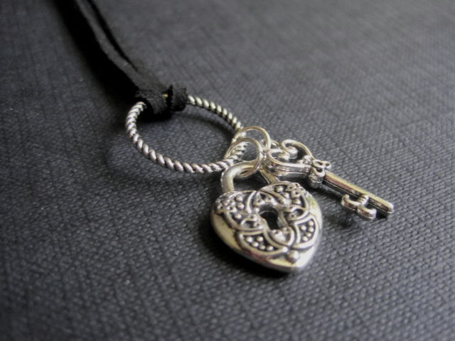 Heart Lock & Key Cord Goth Necklace - product images  of