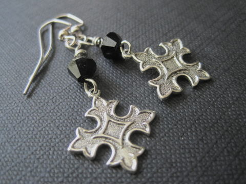 Fleur,De,Lis,Cross,Dangle,Goth,Earrings,Fleur De Lis Cross Dangle Goth Earrings, Gothic jewelry, Vamp, handmade jewelry