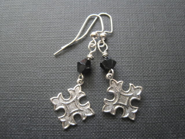 Fleur De Lis Cross Dangle Goth Earrings - product images  of