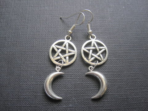 Pentacle,Crescent,Moon,Witch,Dangle,Earrings,Pentacle Crescent Moon Witch Dangle Earrings, pagan jewelry, wicca, witch, wiccan jewelry, Tibetan silver, pentacle jewelry, witch earrings, handmade earrings, moon earrings, pentagram jewelry