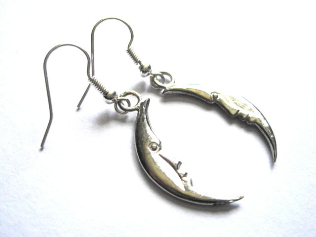 Big Crescent Moon Witch Dangle Earrings - product images  of