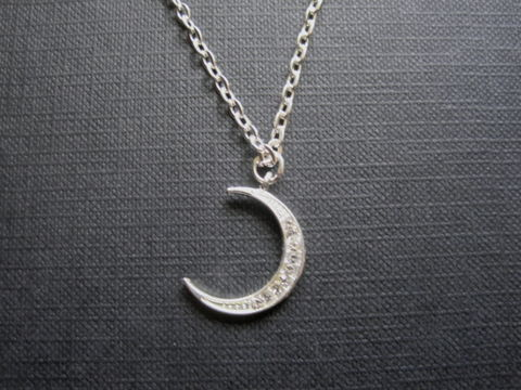 Crystal,Crescent,Moon,Pave,Witch,Necklace,Crystal Crescent Moon Pave Witch Necklace, silver plated, witch necklace, goddess jewelry, pagan jewelry, moon jewelry, handmade necklace, pave crystals, moon necklace, crescent moon, witch jewelry, moon goddess necklace