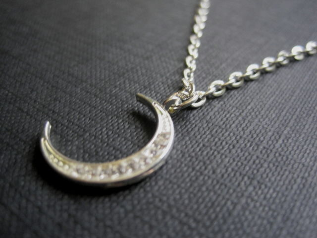 Crystal Crescent Moon Pave Witch Necklace - product images  of