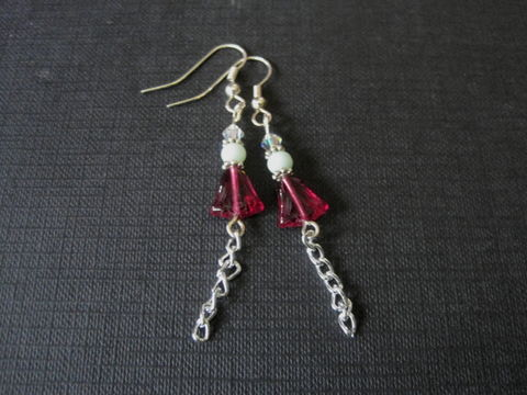 Red,Tulip,Chain,Dangle,Earrings,Red Tulip Chain Dangle Earrings, amazonite, flower earrings, floral, handmade earrings
