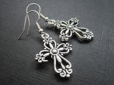 Nancy,Witch,Filigree,Cross,Dangle,Earrings,Nancy Witch Filigree Cross Witch Dangle Earrings, handmade, Tibetan silver, nancy downs, the craft, witchcraft, cross, witch jewelry, goth jewelry, antique silver, filigree