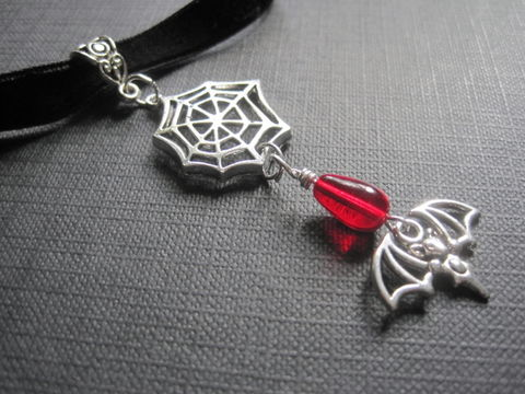 Vampira,Spiderweb,Bat,Goth,Vampire,Choker,Necklace,Vampira Spiderweb Bat Goth Vampire Choker Necklace, goth jewelry, handmade choker, vampire jewelry, spiderweb, bat, antique silver, black velvet, red teardrop