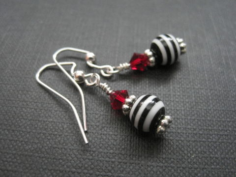 Lydia,Stripe,Bead,Goth,Dangle,Earrings,Lydia Stripe Bead Goth Dangle Earrings, lydia deetz, beetlejuice, witch jewelry, goth jewelry, antique silver, red, black and white stripe beads