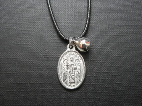 Archangel,Michael,Amulet,Cord,Necklace,Archangel Michael Amulet Cord Necklace, religious jewelry, angel jewelry, handmade jewelry, archangel, pray for us, pewter, antique silver