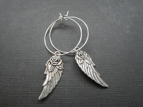 Angel,Wing,Silver,Hoop,Earrings,Angel Wing Hoop Earrings, angel wings, hoop earrings, religious jewelry, angel jewelry, handmade jewelry, antique silver, silver plated hoops