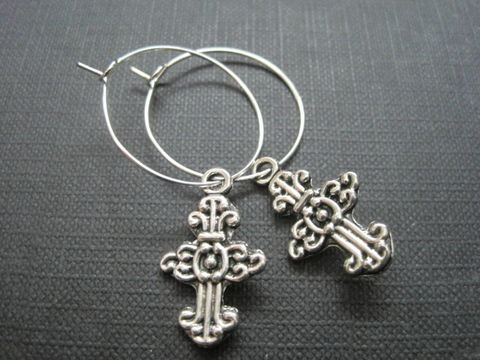 Cross,Silver,Hoop,Earrings,Cross Silver Hoop Earrings, cross, hoop earrings, religious jewelry, cross jewelry, handmade jewelry, antique silver, silver plated hoops