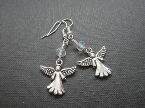 Angel,Dangle,Earrings,Angel Dangle Earrings, angel jewelry, handmade earrings, religious jewelry, angel wings, antique silver
