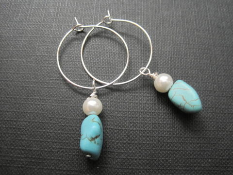 Turquoise,and,Pearl,Hoop,Earrings,Turquoise and Pearl Hoop Earrings, pearl hoop earrings, fashion jewelry, handmade earrings, white pearl, silver plated hoops, turquoise, magnesite, glass pearl