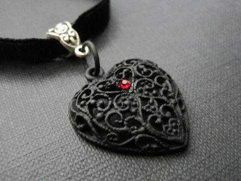 Filigree,Black,Heart,Goth,Choker,Filigree Black Heart Goth Choker, goth jewelry, black, heart choker, handmade choker, black filigree