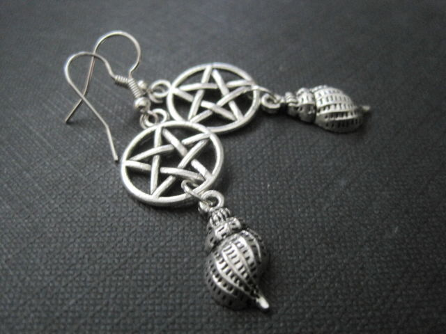 Pentacle Sea Witch Shell Dangle Earrings  - product images  of