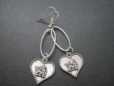 Cherub,Angel,Heart,Oval,Hoop,Earrings,Cherub Angel Heart Oval Hoop Earrings, angel jewelry, handmade earrings, cherub, angel, cupid, love heart, religious jewelry