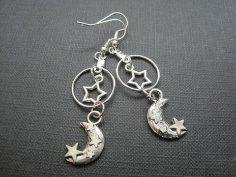 Celestial,Star,Moon,Witch,Dangle,Earrings,Celestial Star Moon Witch Dangle Earrings, witch jewelry, handmade earrings, moon jewelry, antique silver, goth jewelry, star and moon earrings, celestial jewelry, crescent moon, eternity circle