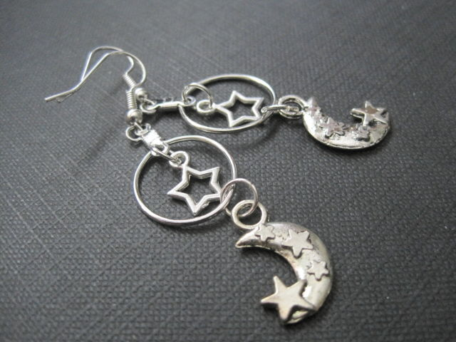 Celestial Star Moon Witch Dangle Earrings  - product images  of