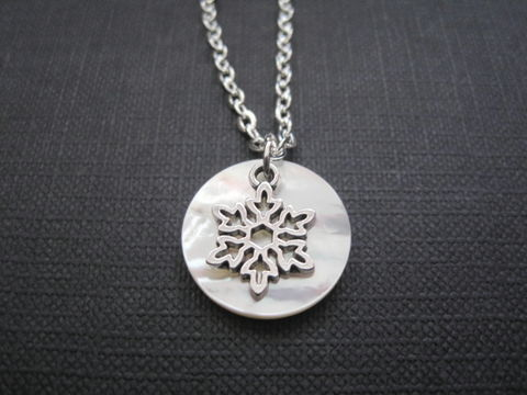 Full,Moon,Snowflake,Cold,Necklace,Full Moon Snowflake Cold Moon Necklace, moon jewelry, full moon necklace, winter, December, cold moon, snowflake, moon, frosty moon, mother of pearl jewelry, handmade jewelry, celestial jewelry, February, November