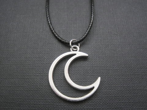 Crescent,Cut,Out,Moon,Celestial,Cord,Necklace,Crescent Cut Out Moon Celestial Cord Necklace, moon jewelry, handmade necklace, celestial jewelry, crescent moon, antique silver