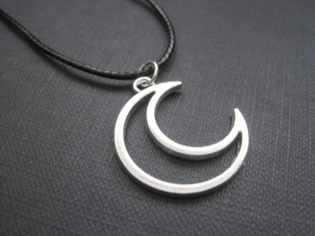 Crescent Cut Out Moon Celestial Cord Necklace   - product images  of
