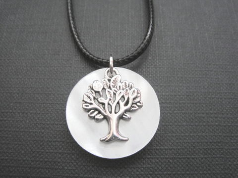 Full,Moon,Tree,of,Life,Cord,Necklace,Full Moon Tree Cord Necklace, moon jewelry, handmade necklace, celestial jewelry, full moon, antique silver, tree of life