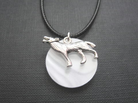 Full,Moon,Wolf,Cord,Necklace,Full Moon Wolf Cord Necklace, moon jewelry, handmade necklace, celestial jewelry, full moon, antique silver, wolf